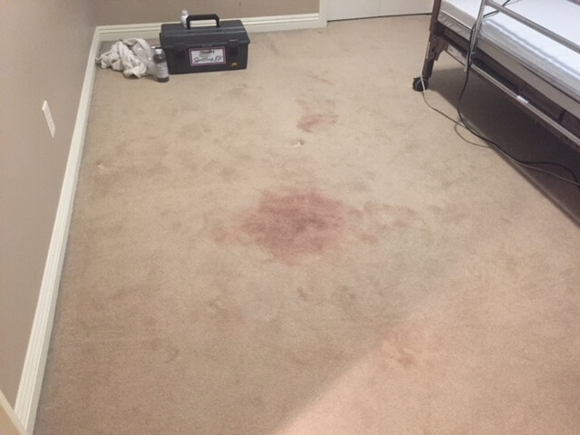 a before shot of a carpet stain removal project completed by Chinook Chem-Dry