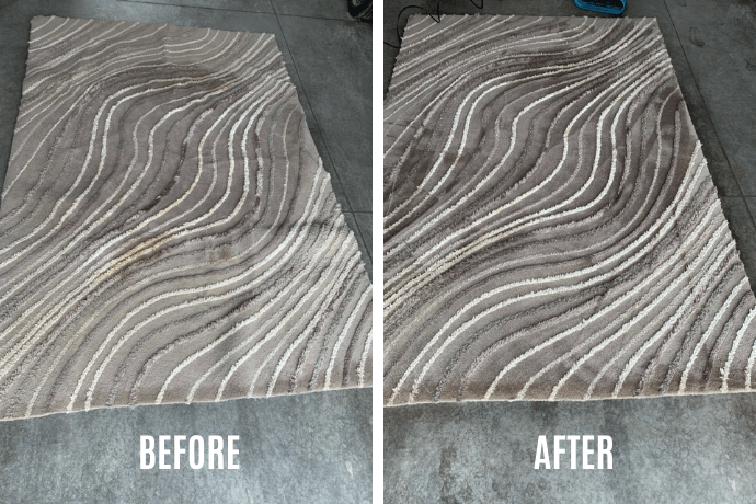 before and after our area rug cleaning process